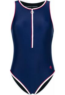 Perfect Moment Front Zipped Swim Suit - Azul