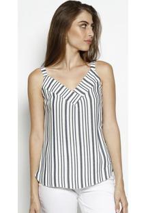 Blusa Listrada Com Recortes Sobrepostos- Branca & Azul Mnem