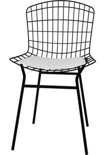 Cadeira Trama Vinil Pc2202-Pozza - Branco / Preto