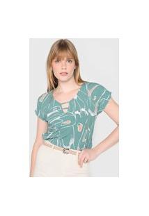 Blusa Gris Estampada Verde