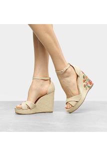 Sandália Anabela Shoestock Floral Feminina