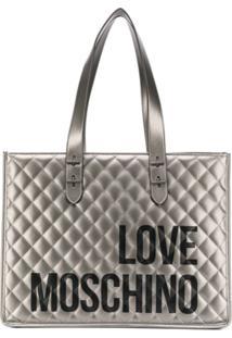 Love Moschino Bolsa Tote Matelassê Com Logo - Cinza