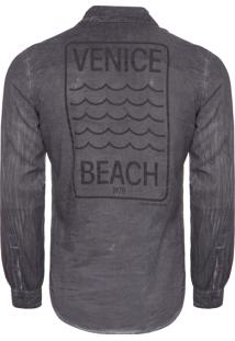 Camisa Masculina Estampa Veince - Preto