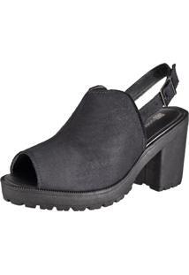 Sandália Oxford Cr Shoes Aberta Confort Preta