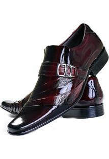 Sapato Social Envernizado Gofer Estilo Italiano Em Couro Legítimo Verniz - Masculino-Vermelho