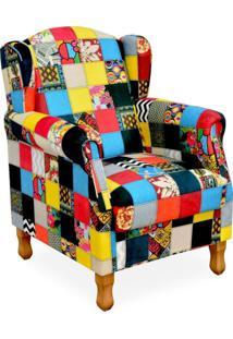Poltrona Decorativa Para Sala De Estar Mel Patchwork - Lyam Decor