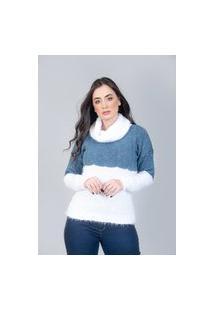 Blusa Charme Tricot Bicolor Gola Alta Jeans