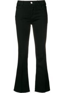 Haikure Calça Jeans Flare Cropped Stretch - Preto