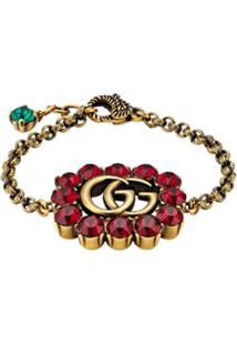 Gucci Pulseira Duplo G Em Cristais - Dourado