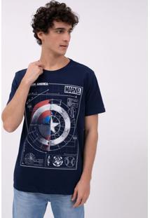 Camiseta Manga Curta Estampa Capitão América Marvel