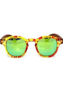 Óculos De Sol Mafiawood De Acetato Com Madeira Riina Flower - Feminino-Amarelo+Marrom
