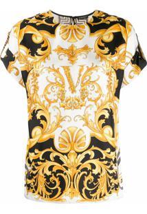 Versace Blusa Virtus De Seda - Branco