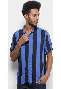 Camisa Manga Curta Ellus Masculino Hand Stripes Bold Hawaii Americana Masculina - Masculino-Azul Royal