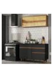 Cozinha Compacta Madesa Reims 120001 Com Armário E Balcão - Preto/Rustic