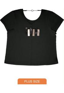 Blusa Visco Tricot Rovitex Plus Size Preto
