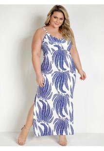 Vestido Longo Folhagem Azul Com Alças Plus Size
