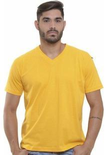 Camiseta Decote V Masculina - Masculino-Amarelo