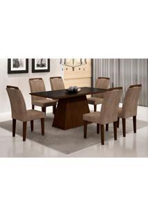 Conjunto De Mesa Luna Com 6 Cadeiras Athenas Castor Preto Com Animalle Chocolate