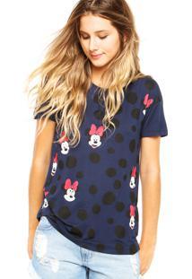 Blusa Cativa Disney Bolinhas Azul-Marinho