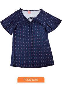 Blusa Azul Marinho Poá Com Amarração Frontal