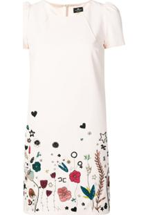 Elisabetta Franchi Floral Print Mini Dress - Neutro