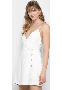 Vestido Curto Farm Transpasse Botões - Feminino-Off White