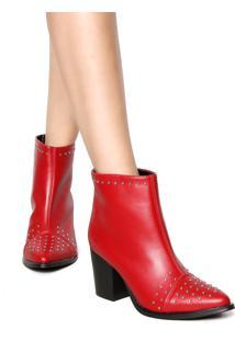 Bota Dafiti Shoes Texana Cravo Biqueira Vermelho