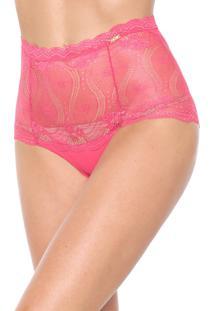 Calcinha Dilady Hot Pant Renda Rosa