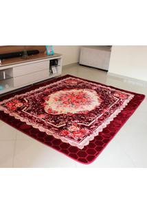 Tapete Aveludado 3D Estampado Floral Vinho 2,00Mx2,50M Têxtil Design