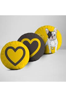 Kit 3 Almofadas Redondas I Love My Dog
