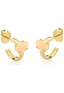Brinco Toque De Joia Mini Argola Navete Pedra Pequena Amazonita Nude Dourado