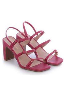 Sandália Bellavine Feminina Salto Alto Fivela Elegante Luxo Preto 34 Rosa