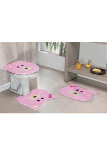 Jogo De Banheiro Premium Formato Ursa 03 Peças Rosa Guga Tapetes
