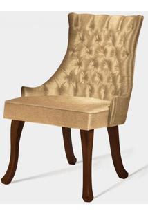 Cadeira Rocaille Capitone Bege Base Castanho - 50554 - Sun House
