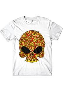 Camiseta Long Beach Caveira Espinhos Sublimada Masculina - Masculino-Branco