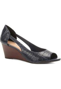 Peep Toe Couro Shoestock Anabela Croco - Feminino-Marinho
