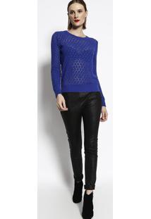 Blusa Em Tricã´ Vazado- Azul- Cotton Colorscotton Colors Extra