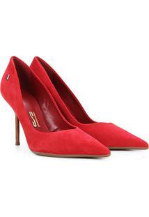 Scarpin Santa Lolla Bico Fino Salto Alto - Feminino-Vermelho Escuro