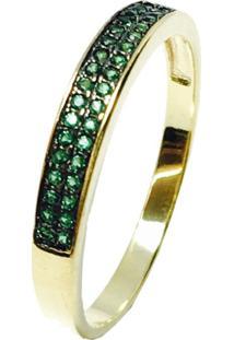 Anel Kumbayá Meia Aliança Semijoia Banho De Ouro 18K Cravação De Zircônia Verde Esmeralda Detalhe Em Ródio Negro