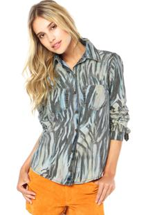 Camisa Jeans Lança Perfume Print Multicolorido