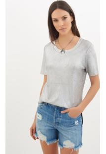 Camiseta Le Lis Blanc Luana Foil Tricot Prata Feminina (Prata, G)