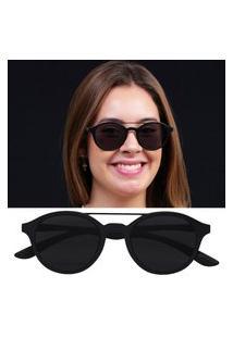 Óculos De Sol Redondo Preto Arco Leve Retro