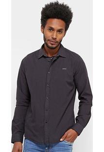 Camisa Manga Longa Colcci Básica Algodão Masculina - Masculino-Preto