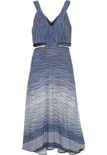 Vestido Midi Estampa Durban - Azul