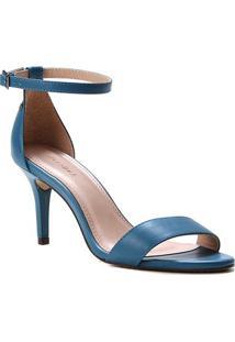 Sandália Couro Shoestock Salto Médio Fernanda Feminina - Feminino-Azul Petróleo
