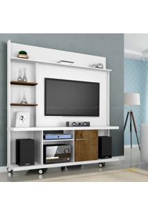 Estante Home Theater Para Tv Até 47 Polegadas 1 Porta Taurus Branco/Madeira Rústica - Móveis Bechara