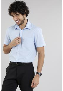 Camisa Masculina Comfort Manga Curta Com Bolso Azul Claro
