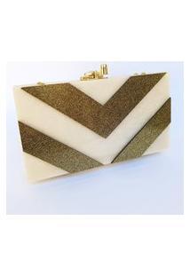 Clutch De Acrílico Desenho Geométrico (Champanhe E Glitter Dourado)