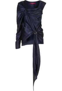 Sies Marjan Blusa Nezha Assimétrica De Cetim - Azul