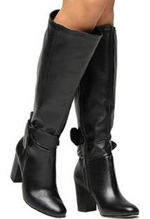 Bota Couro Montaria Shoestock Amarração Feminina